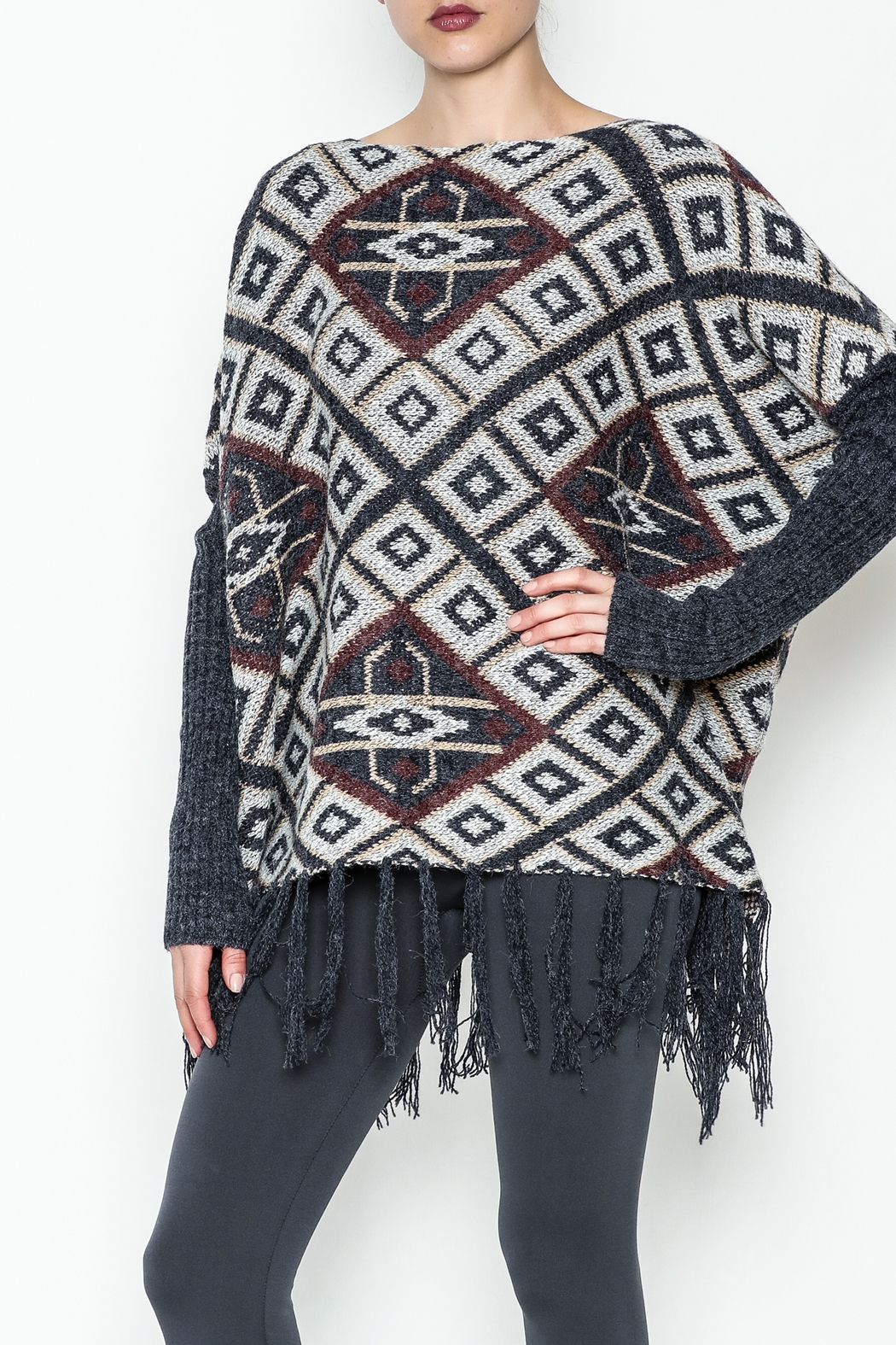 Tea n Rose Aztec Poncho Sweater - Front Cropped Image