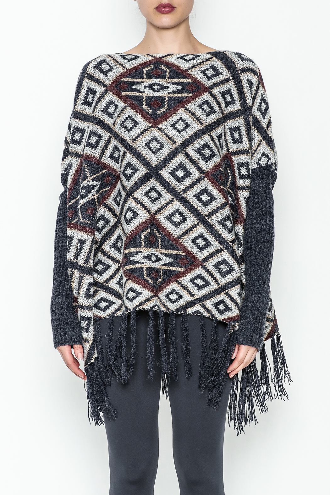 Tea n Rose Aztec Poncho Sweater - Front Full Image