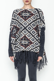 Tea n Rose Aztec Poncho Sweater - Front full body