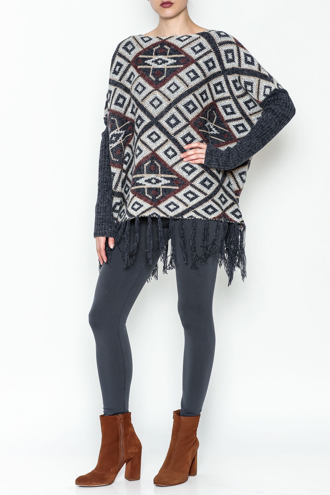 Tea n Rose Aztec Poncho Sweater - Side Cropped Image