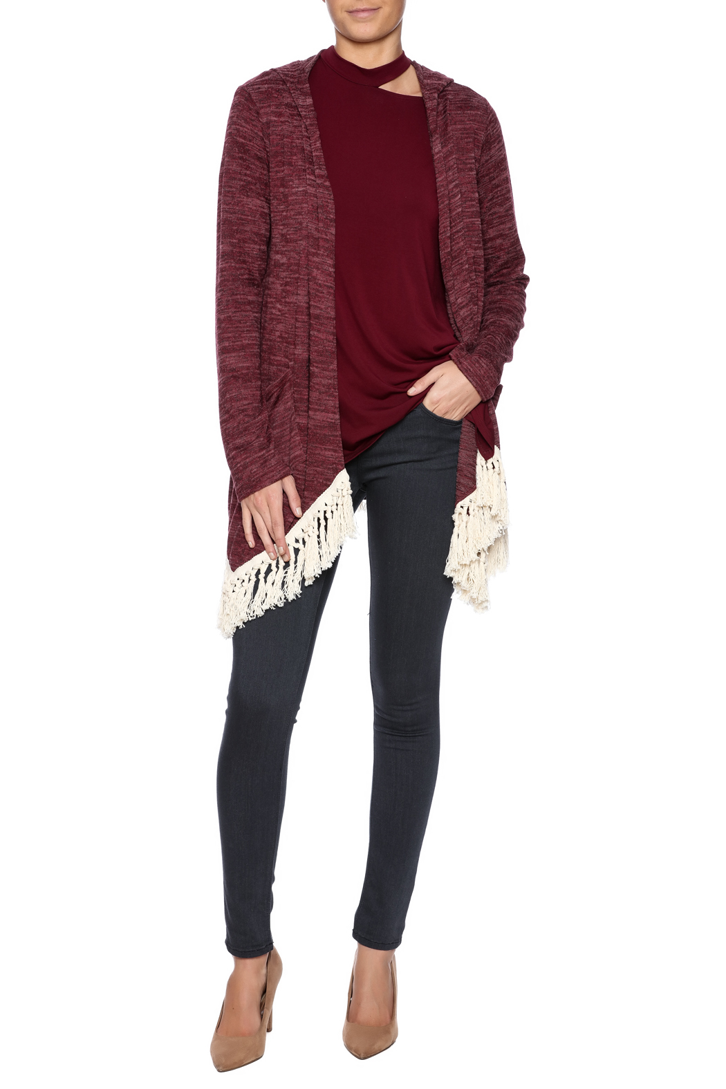 Tea n Rose Hooded Fringe Cardigan from North Carolina by Magnolia ...