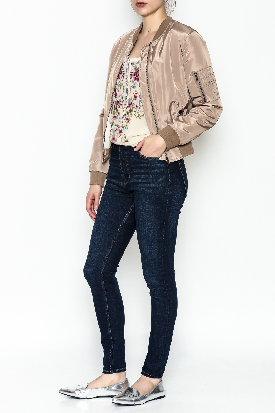 Tea n Rose Mocha Bomber Jacket - Side Cropped Image