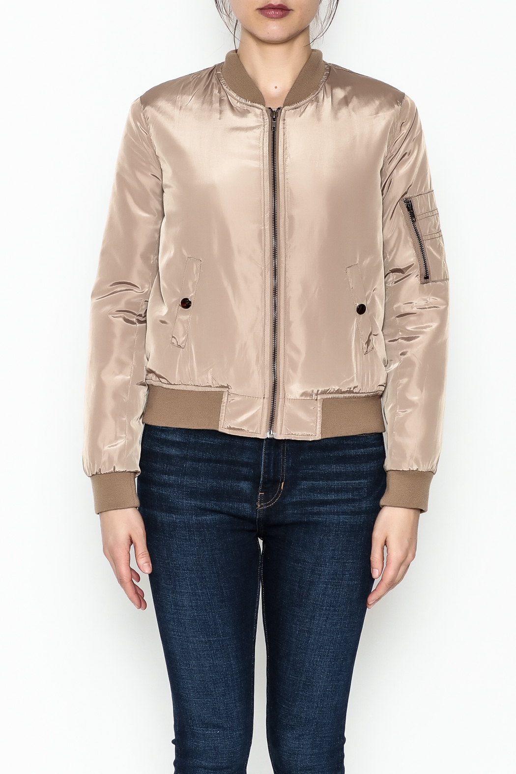 Tea n Rose Mocha Bomber Jacket - Front Full Image