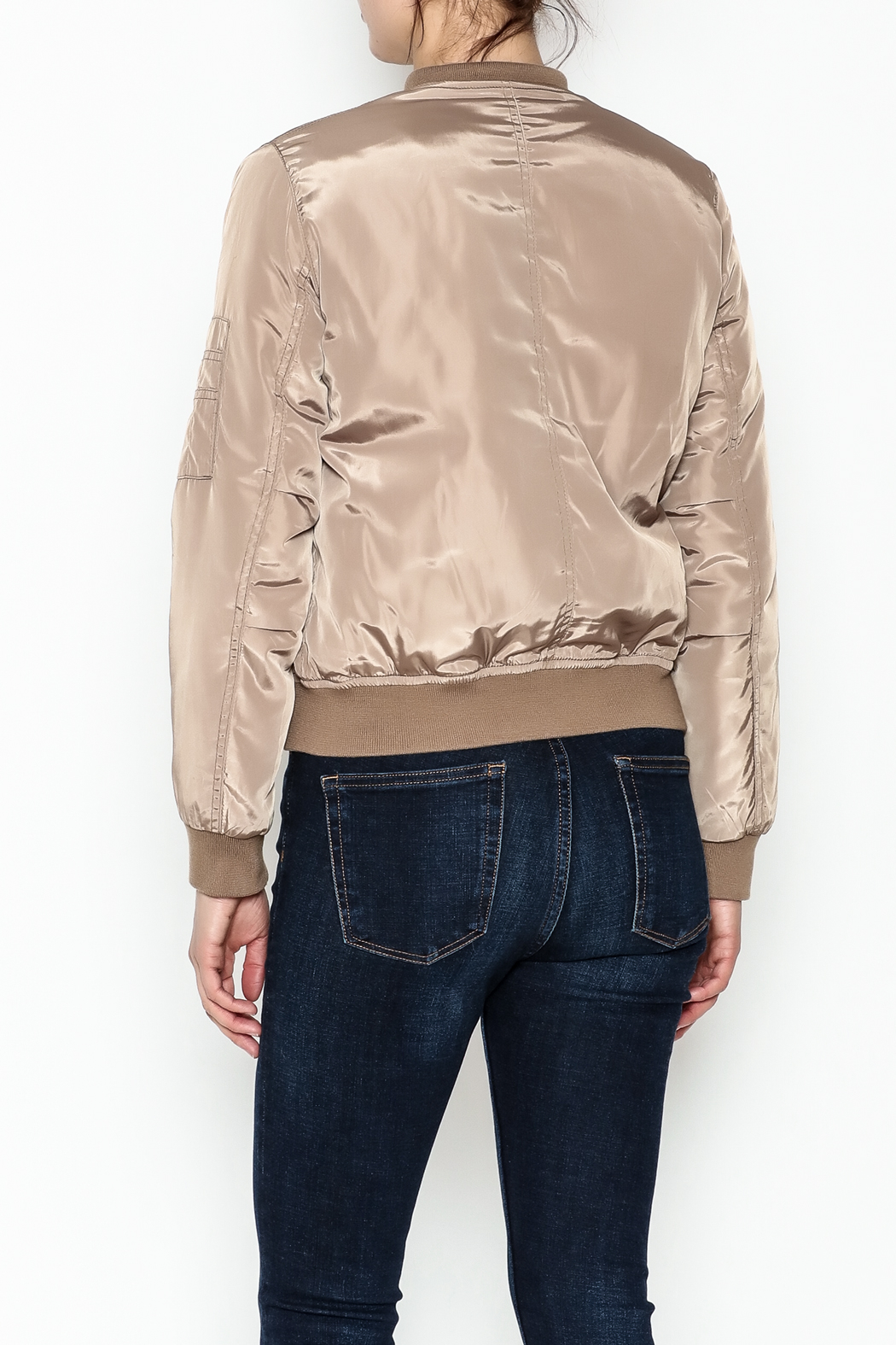 Tea n Rose Mocha Bomber Jacket - Back Cropped Image