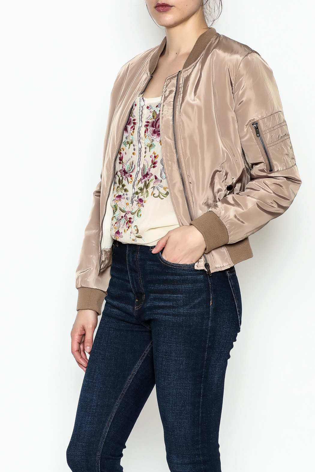 Tea n Rose Mocha Bomber Jacket - Main Image