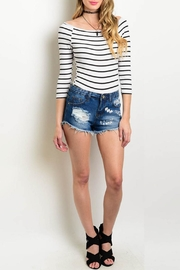 Tea & Cup Destroyed Denim Shorts - Product Mini Image