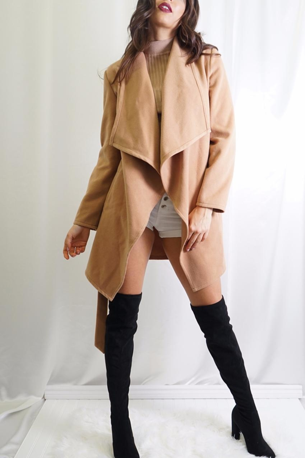 Tea & Cup Faux Suede Coat - Main Image
