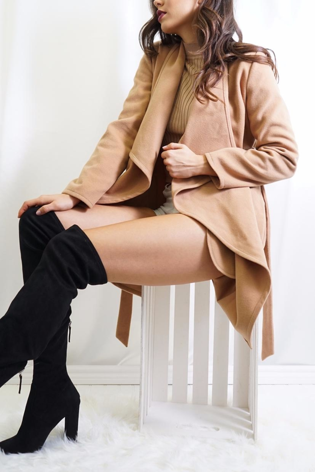 Tea & Cup Faux Suede Coat - Side Cropped Image