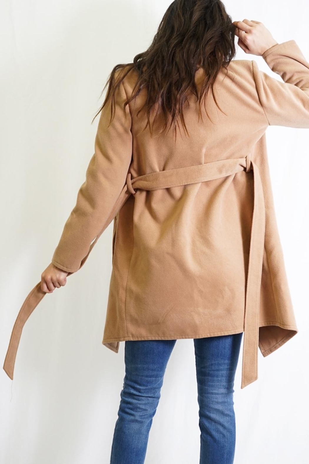 Tea & Cup Faux Suede Coat - Back Cropped Image