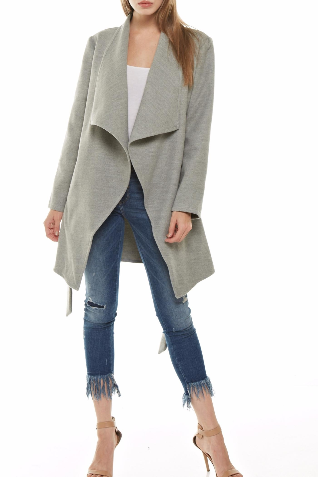 Tea & Cup Faux Suede Coat - Front Cropped Image