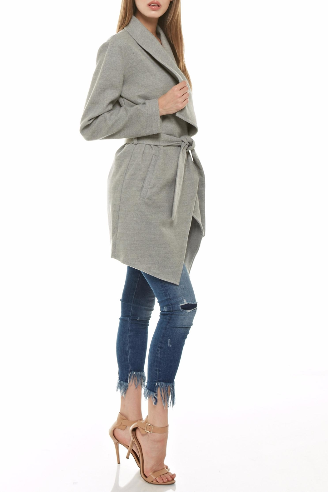 Tea & Cup Faux Suede Coat - Front Full Image