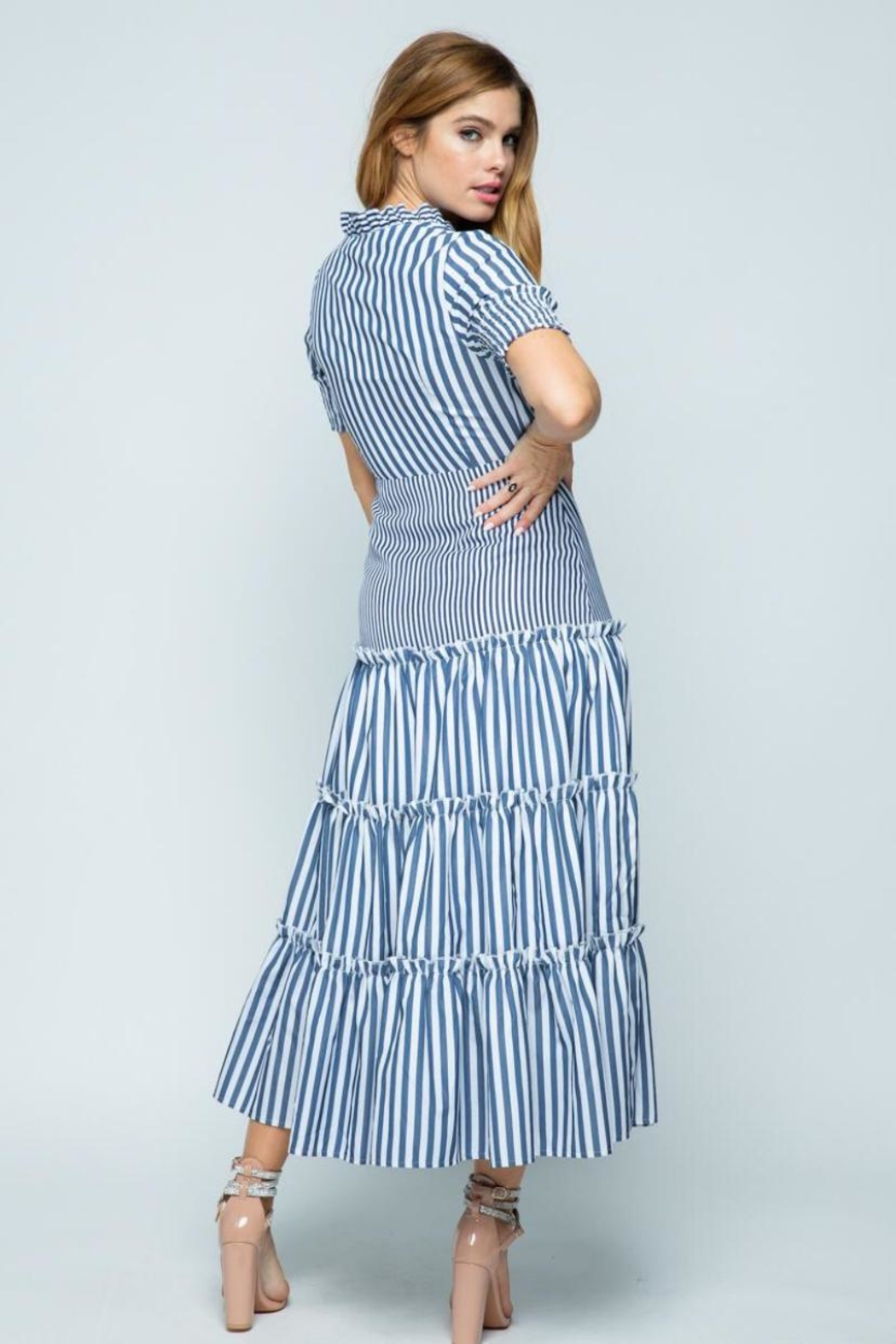 Tea & Cup Striped Layered Dress - Front Full Image