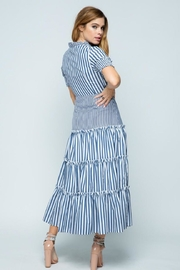 Tea & Cup Striped Layered Dress - Front full body