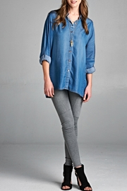 Tea n Rose Denim Button Blouse - Product Mini Image