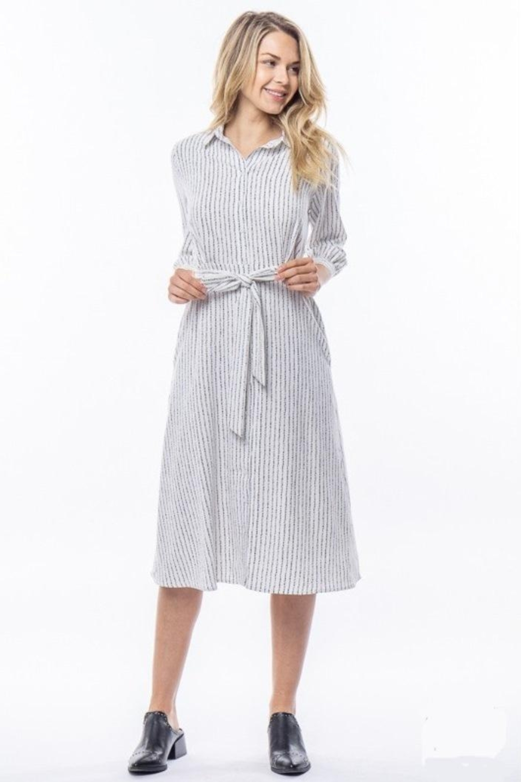 Tea n Rose Dotted Line Dress - Front Cropped Image