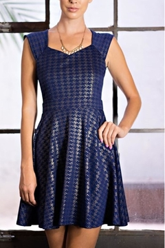 Tea n Rose Navy Metallic Dress - Product List Image