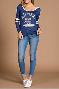 Tea n Rose Varsity Blue Top - Alternate List Image
