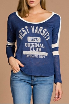 Tea n Rose Varsity Blue Top - Product List Image