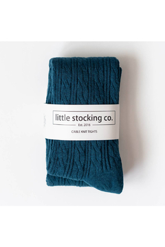 Little Stocking Co Teal Cable Knit Tights - Alternate List Image