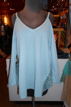 Shoptiques Product: Teal Cold Shoulder Top