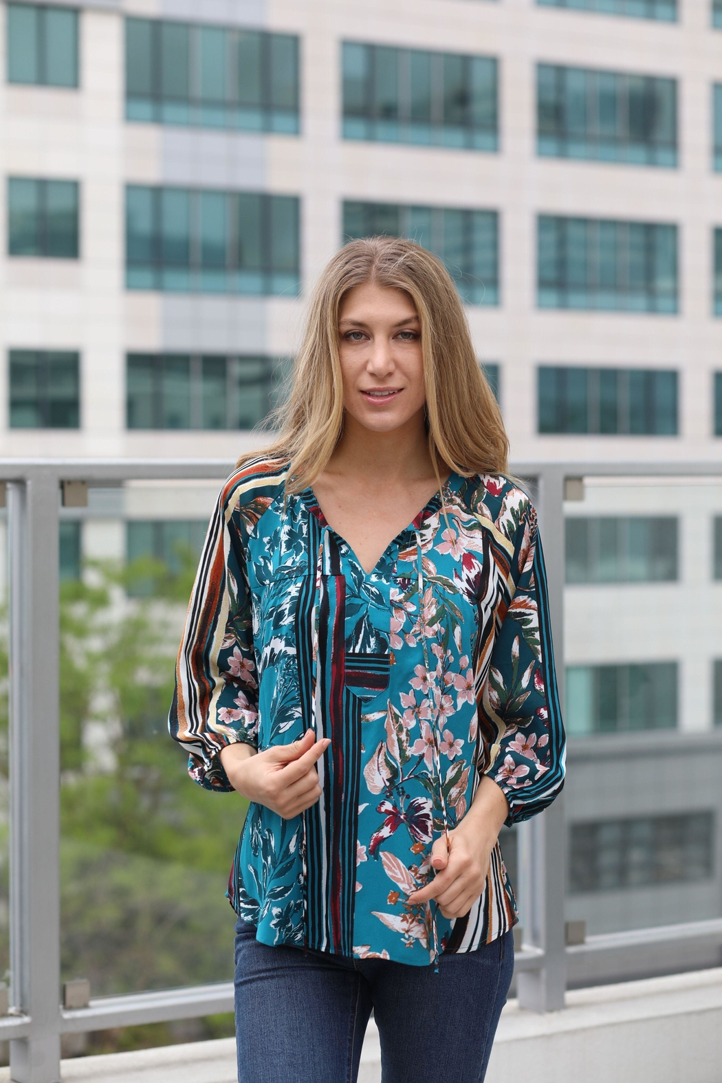 Olive Hill Teal Floral Blouse - Main Image