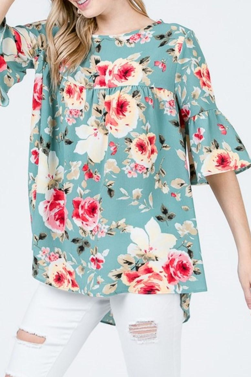 489c9b18ae159 Ces Femme Teal Floral Top from Texas by Red Poppy — Shoptiques