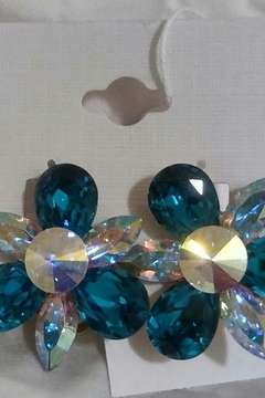Tiny House of Fashion Teal Gem Clip On Earring - Alternate List Image