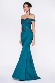 Cinderella Divine Teal Green Fit & Flare Long Formal Dress - Product Mini Image