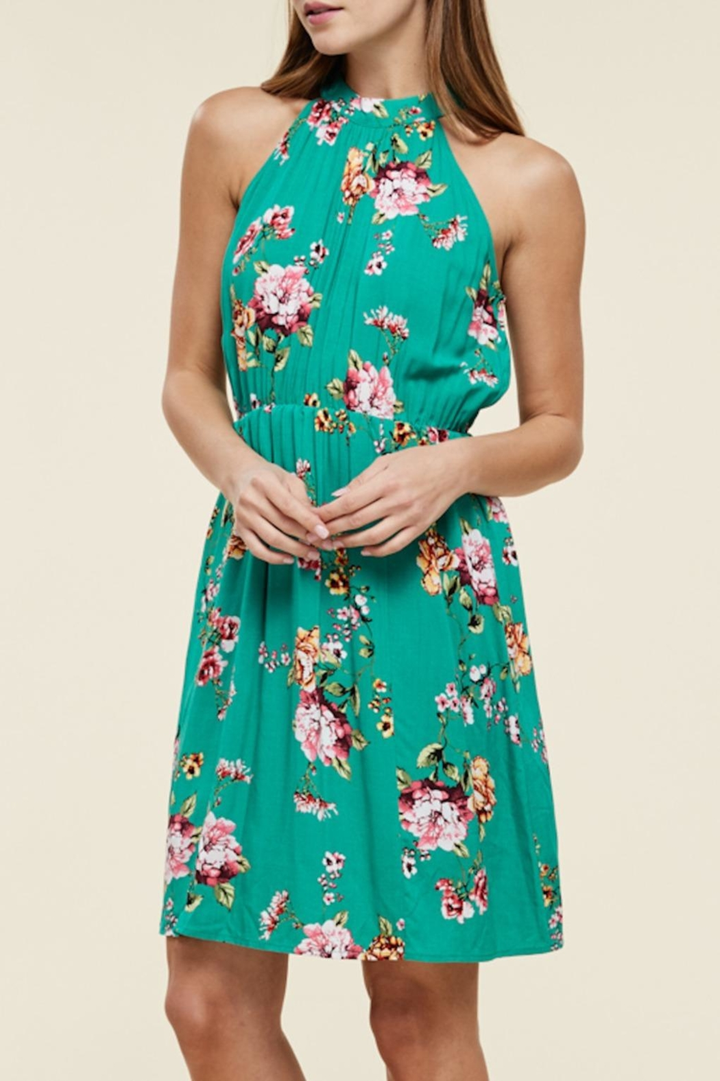 Apricot Lane Teal Green Floral - Front Cropped Image