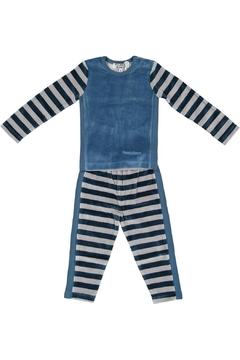 Shoptiques Product: Teal/grey Striped Pyjama