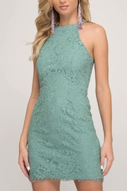 She + Sky Teal Lace Dress - Product Mini Image