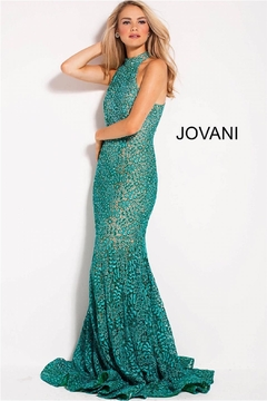 Jovani Teal Lace Gown - Product List Image