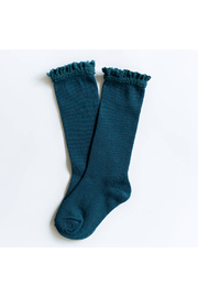 Little Stocking Co Teal Lace Top Knee High Socks - Product Mini Image