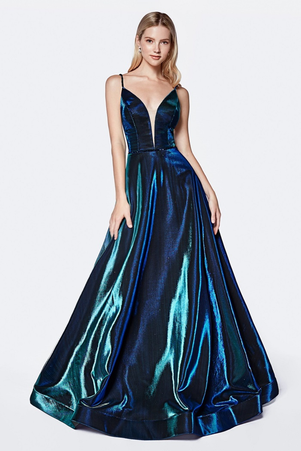 Cinderella Divine Teal Metallic Iridescent Long Formal Dress - Front Cropped Image