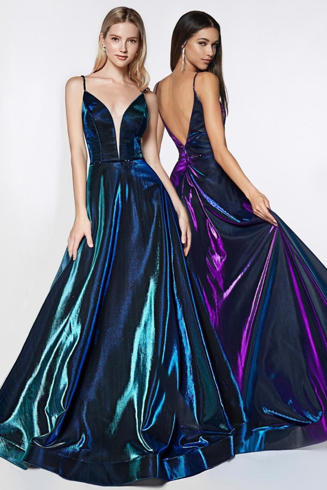 Cinderella Divine Teal Metallic Iridescent Long Formal Dress - Front Full Image