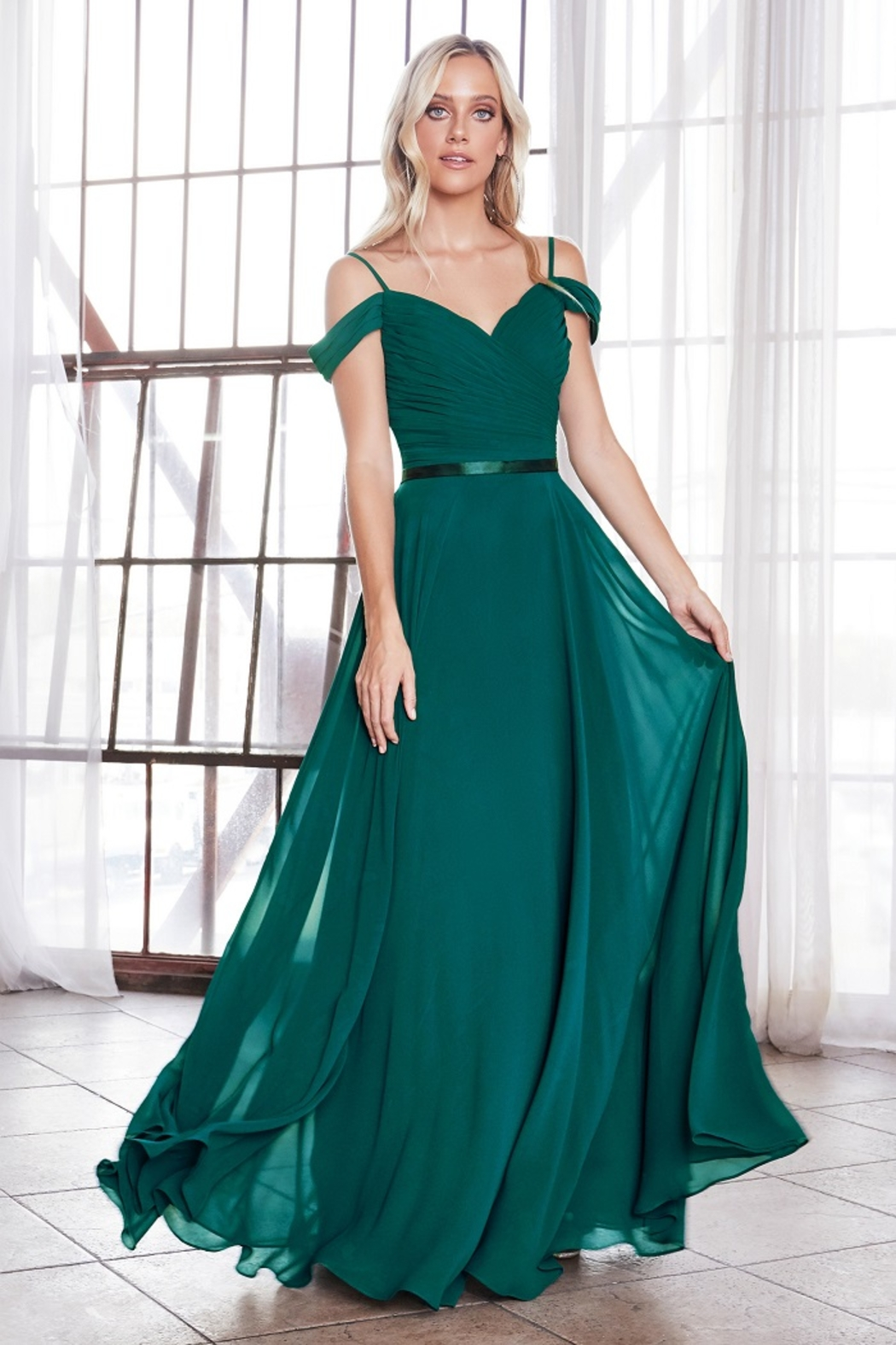 Cinderella Divine Teal Off Shoulder Chiffon Long Formal Dress - Main Image