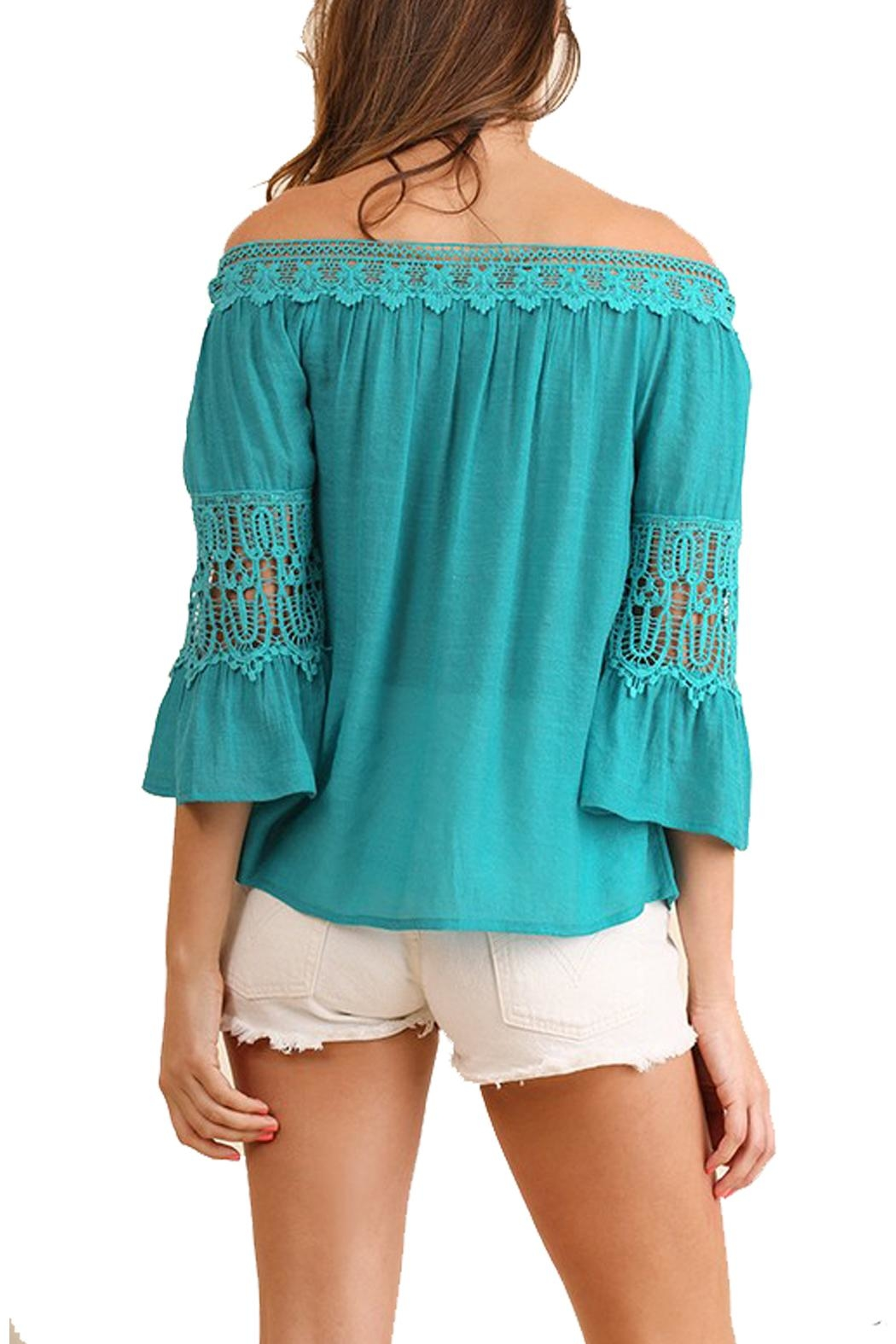 Umgee USA Teal Off-The-Shoulder Top - Side Cropped Image