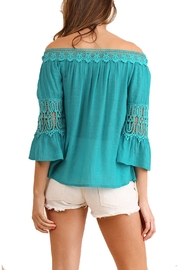 Umgee USA Teal Off-The-Shoulder Top - Side cropped