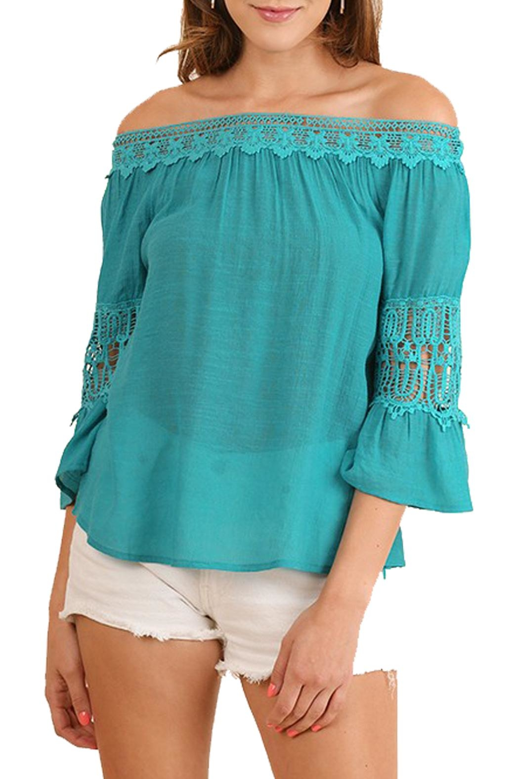 Umgee USA Teal Off-The-Shoulder Top - Main Image