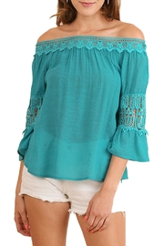 Umgee USA Teal Off-The-Shoulder Top - Front cropped