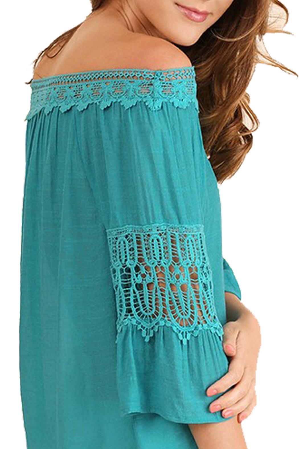 Umgee USA Teal Off-The-Shoulder Top - Front Full Image
