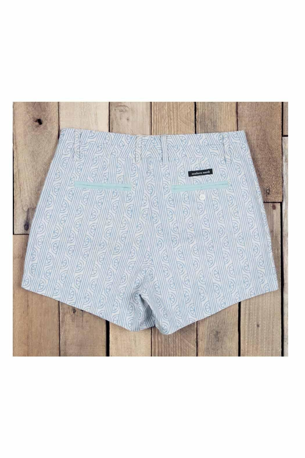 Southern Marsh  Teal Patterned Shorts - Side Cropped Image