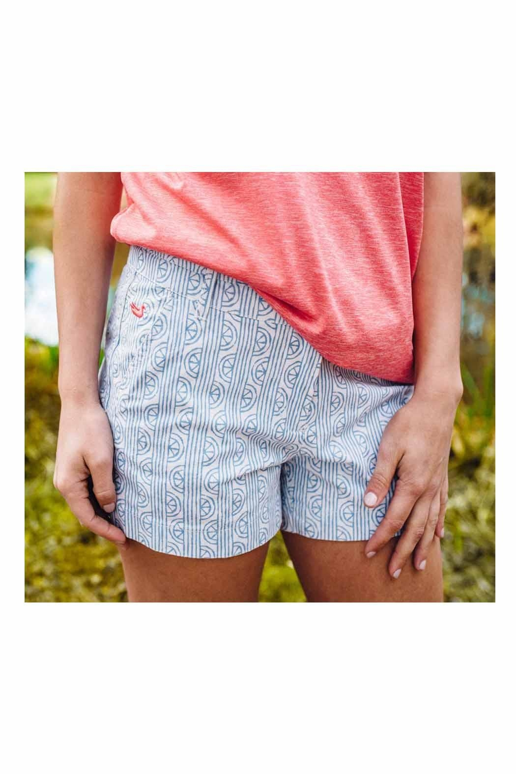 Southern Marsh  Teal Patterned Shorts - Main Image