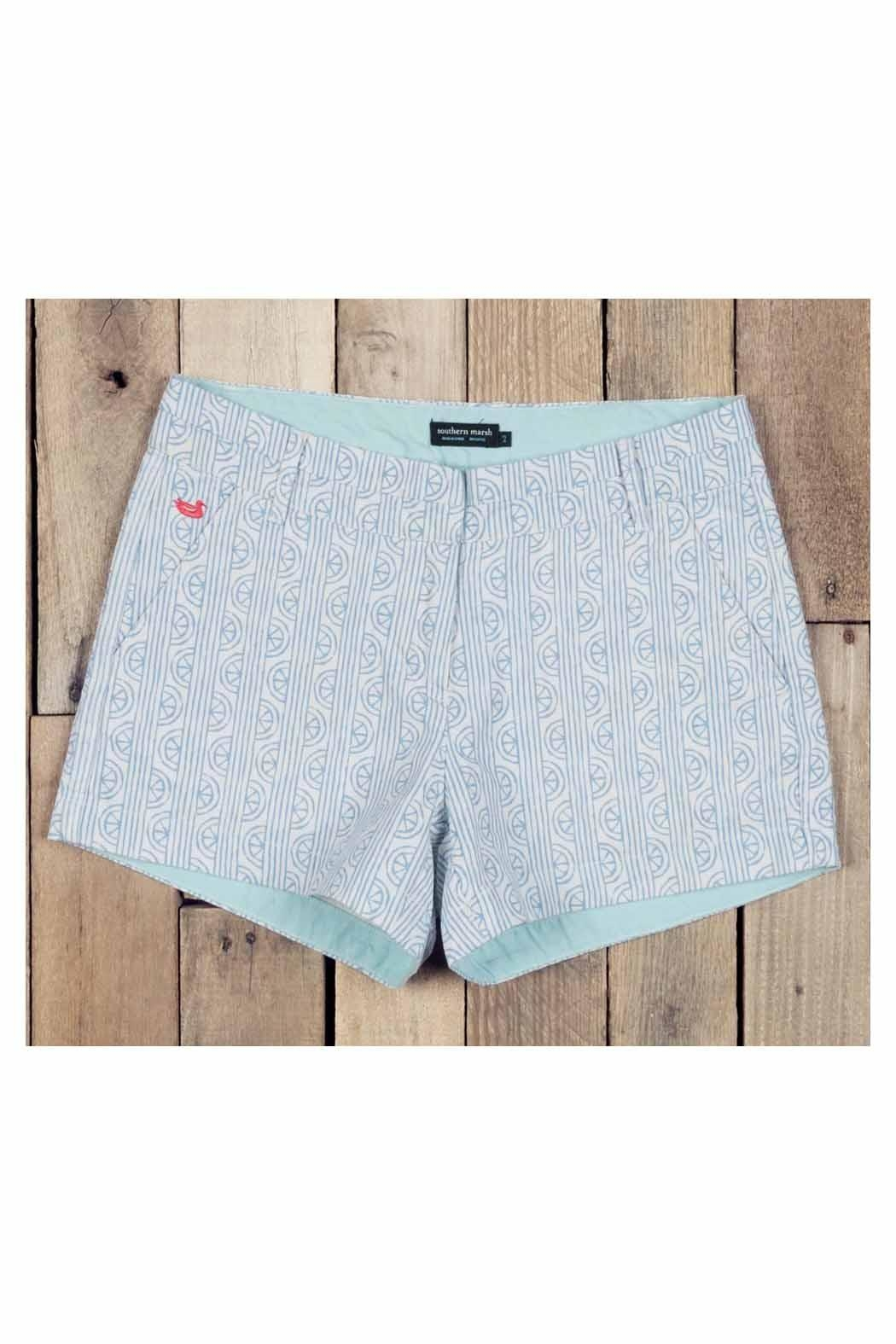 Southern Marsh  Teal Patterned Shorts - Front Full Image