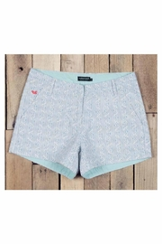 Southern Marsh  Teal Patterned Shorts - Front full body
