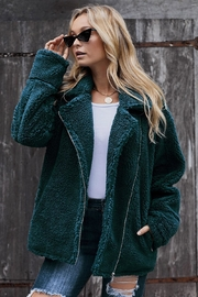 Love Valentine Boutique Teal Sherpa Statement Jacket - Front cropped