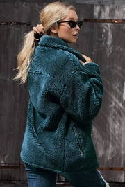 Love Valentine Boutique Teal Sherpa Statement Jacket - Front full body
