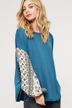 Promesa Teal Shirt with Printed Sleeves - Product List Image