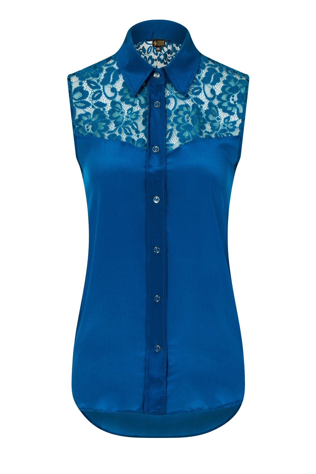 Sophie Cameron Davies Teal Silk Top - Side Cropped Image