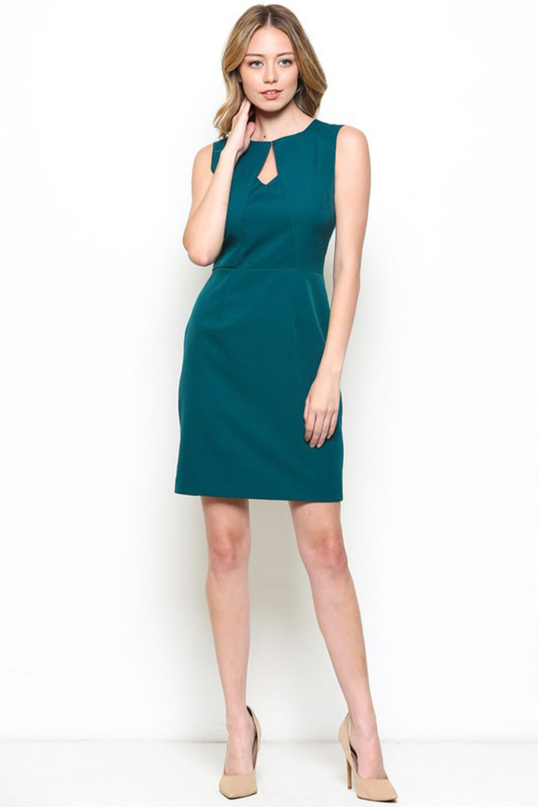Esley Teal Sleeveless Sheath Dress with Front Cut-Out - Side Cropped Image